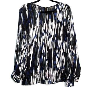 Vince Camuto Sheer Abstract Stripe Blouse